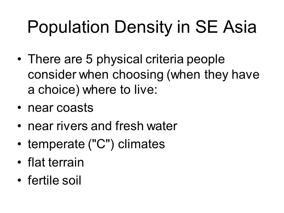 Population Density in SE Asia