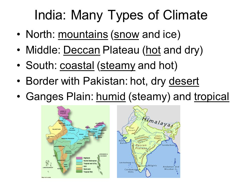 India: Many Types of Climate