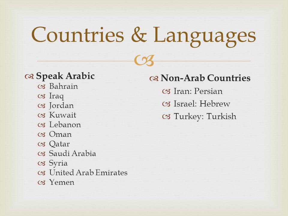 Countries & Languages Speak Arabic Non-Arab Countries Iran: Persian