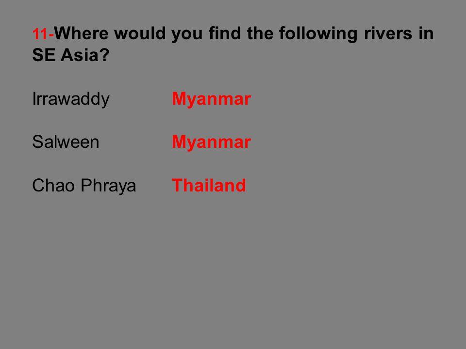 Irrawaddy Myanmar Salween Myanmar Chao Phraya Thailand