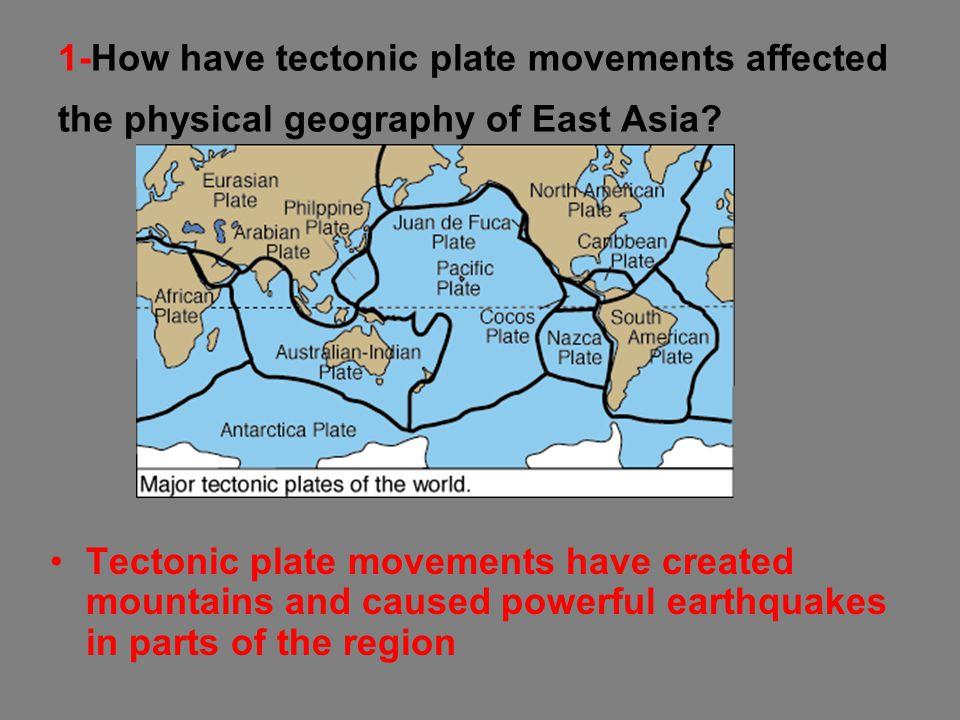 1-How have tectonic plate movements affected the physical geography of East Asia