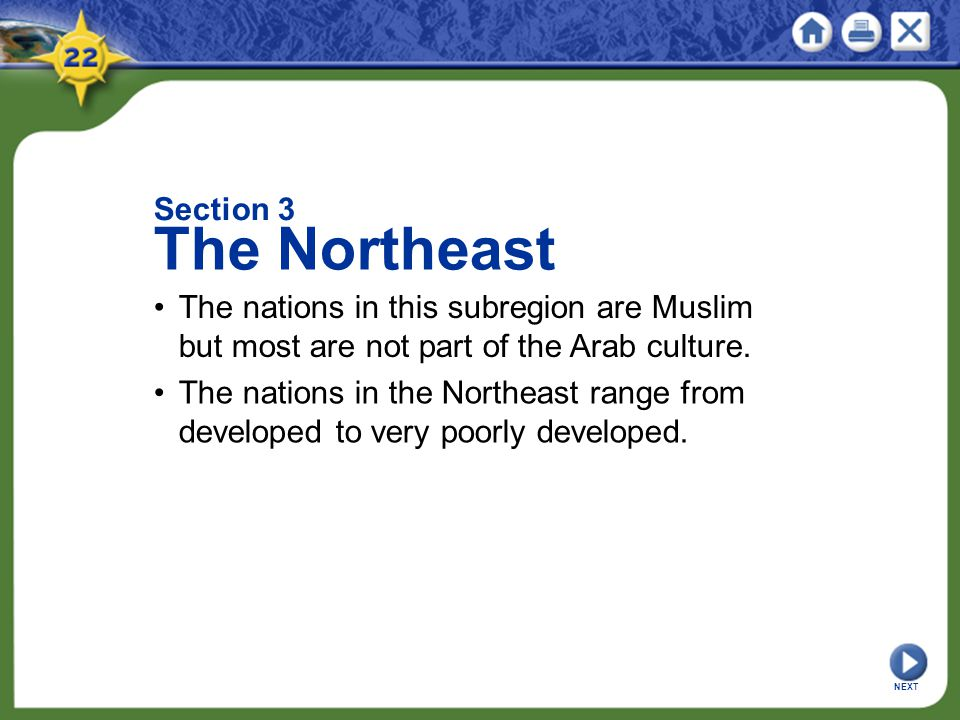 Section 3 The Northeast. • The nations in this subregion are Muslim but most are not part of the Arab culture.