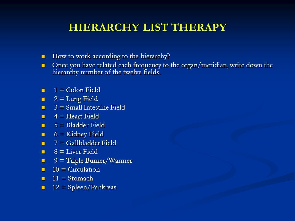 HIERARCHY LIST THERAPY
