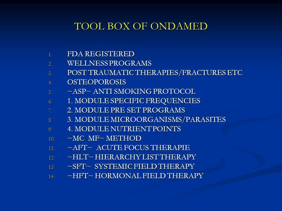 TOOL BOX OF ONDAMED FDA REGISTERED WELLNESS PROGRAMS