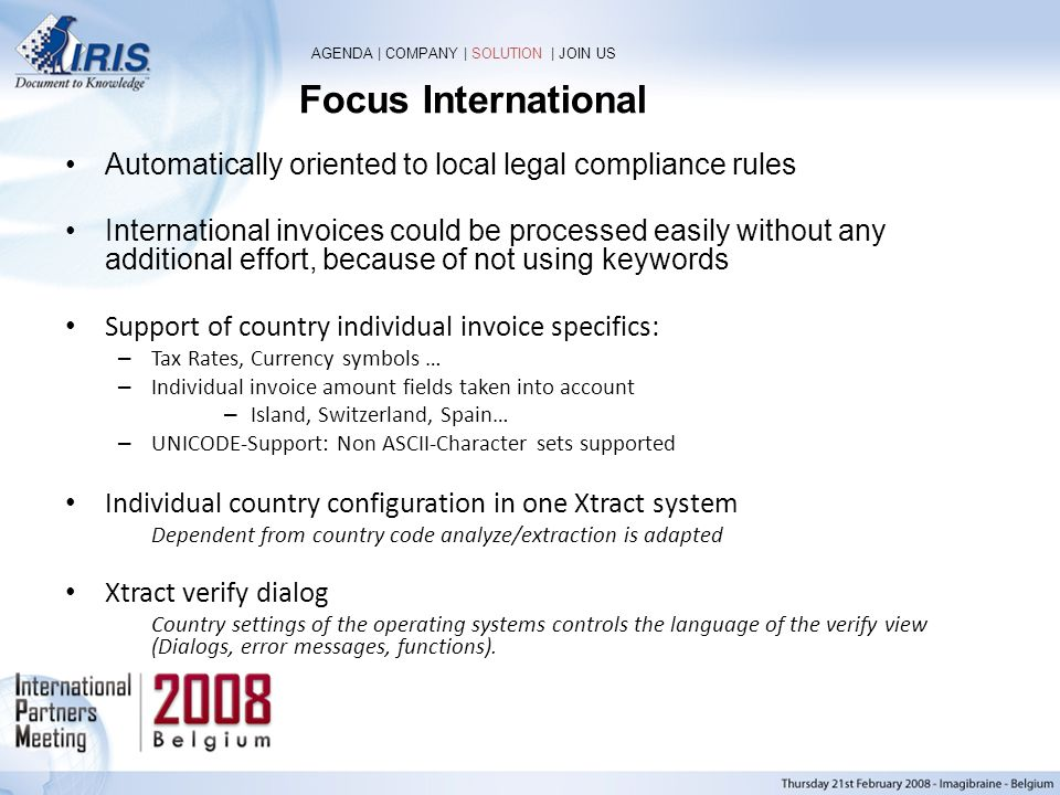Focus International AGENDA | COMPANY | SOLUTION | JOIN US. Automatically oriented to local legal compliance rules.