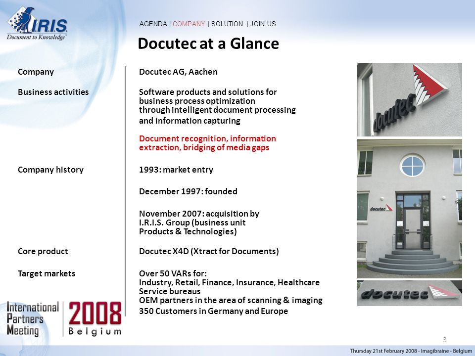 Docutec at a Glance Company Docutec AG, Aachen