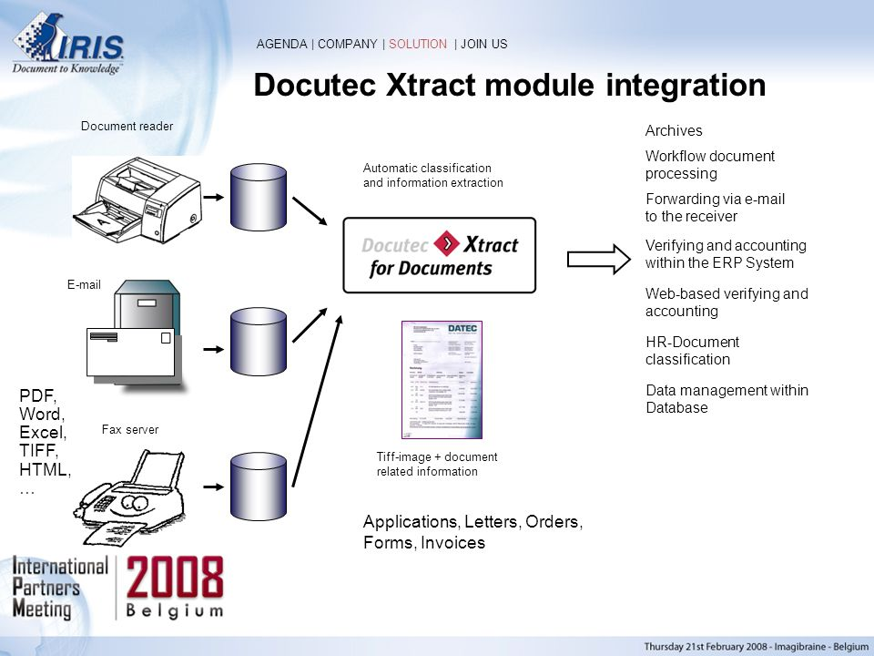 Docutec Xtract module integration