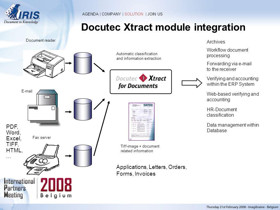 Docutec Xtract module integration
