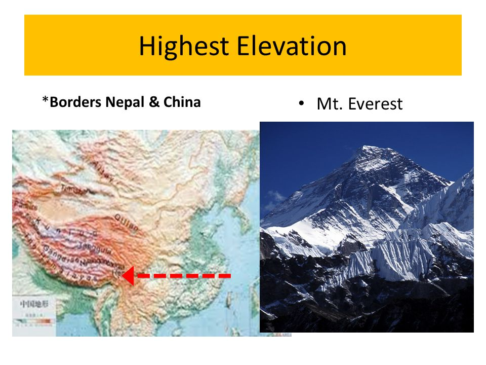 Highest Elevation *Borders Nepal & China Mt. Everest