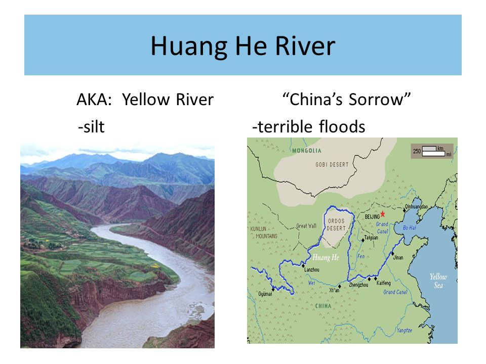 Huang He River AKA: Yellow River -silt China's Sorrow