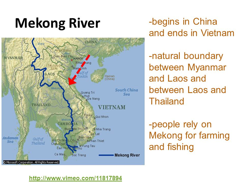Mekong River -begins in China and ends in Vietnam