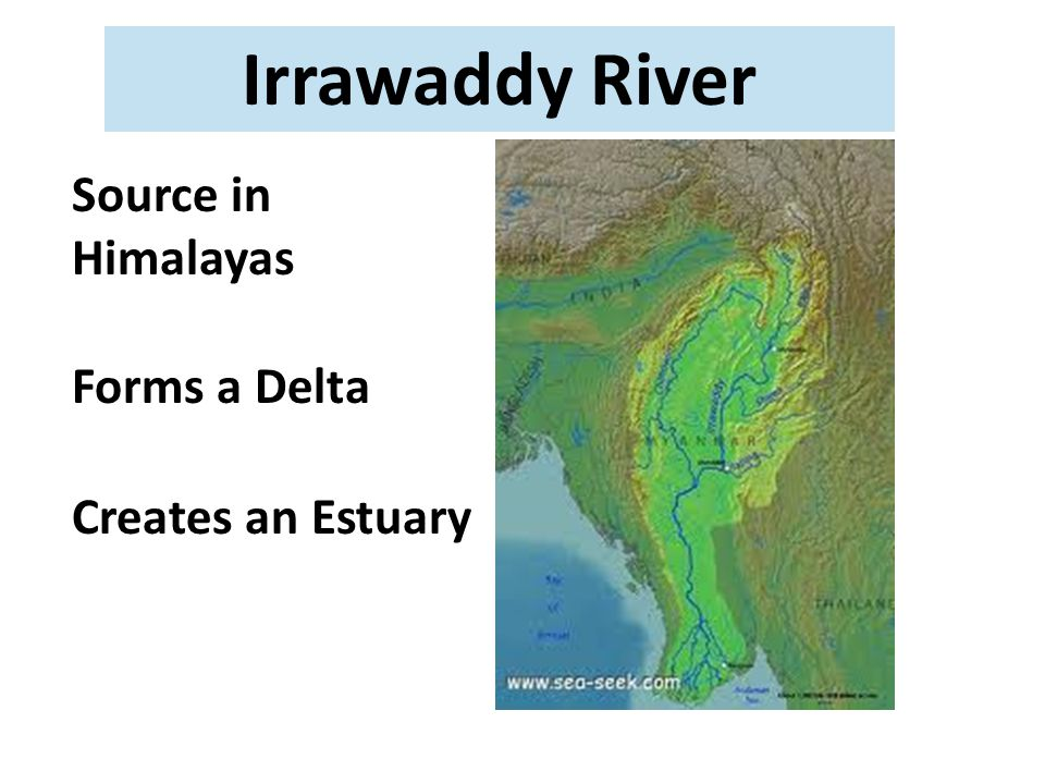 Irrawaddy River Source in Himalayas Forms a Delta Creates an Estuary