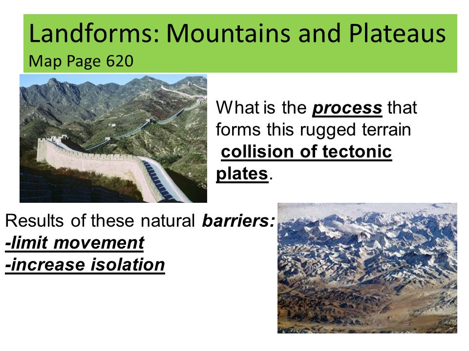 Landforms: Mountains and Plateaus Map Page 620