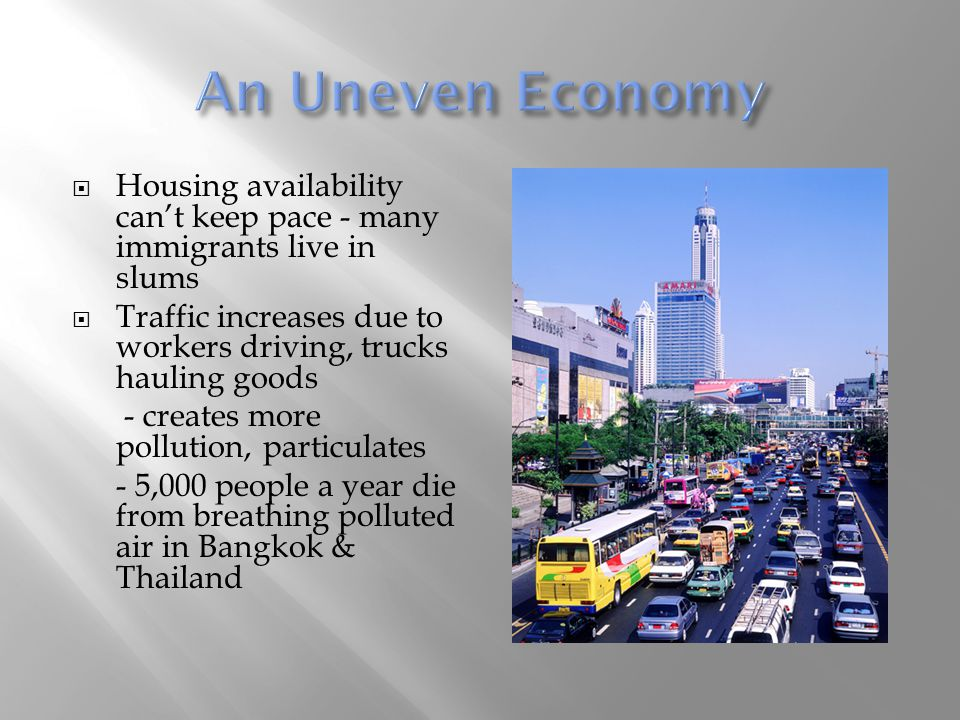 An Uneven Economy Housing availability can't keep pace - many immigrants live in slums.