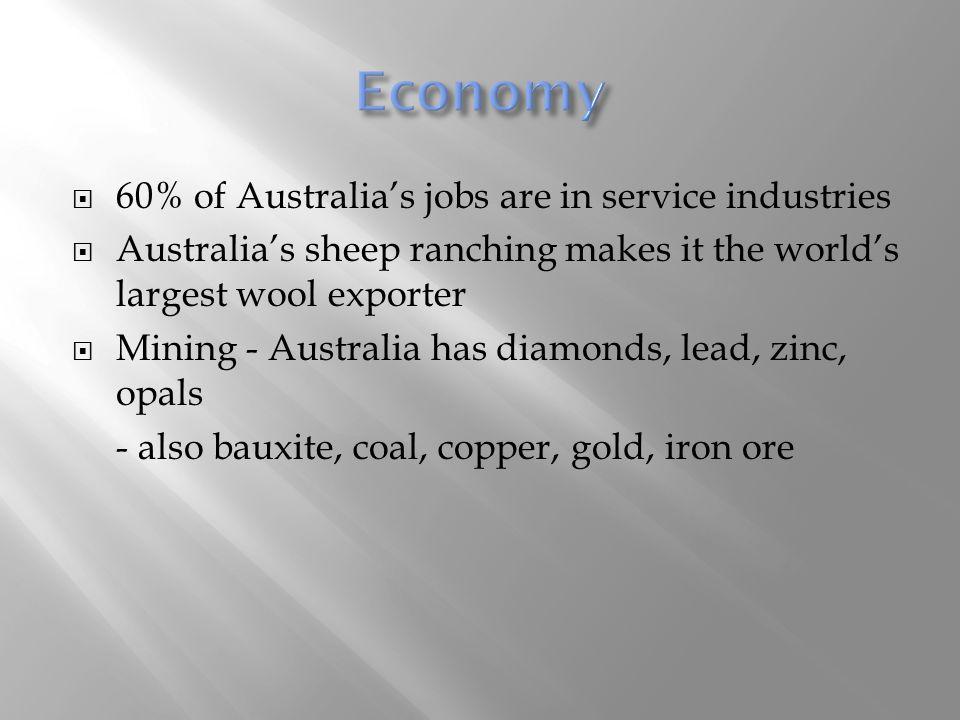 Economy 60% of Australia's jobs are in service industries