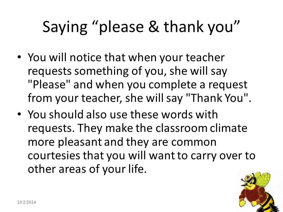 Saying please & thank you