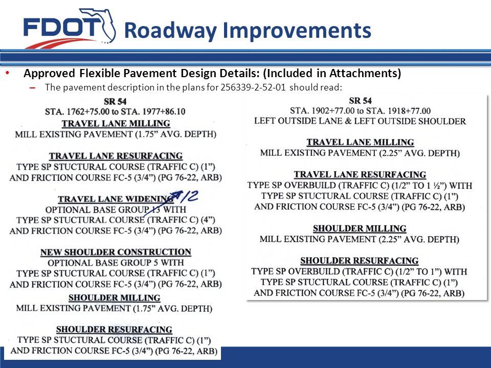 Roadway Improvements Approved Flexible Pavement Design Details: (Included in Attachments)