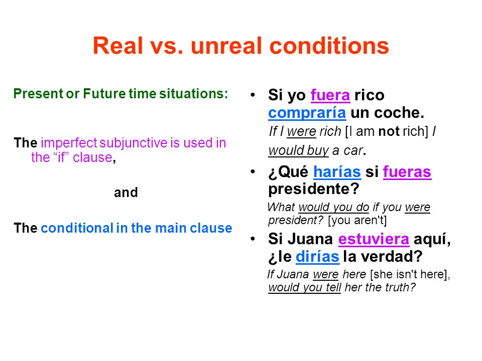 Real vs. unreal conditions