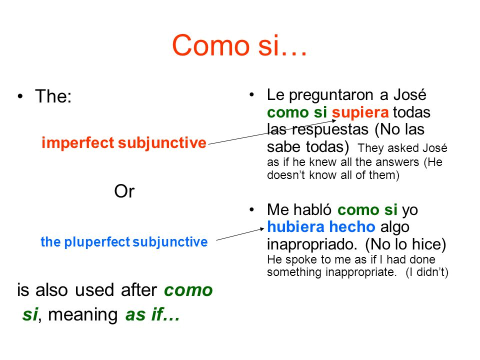 Como si… The: Or is also used after como si, meaning as if…