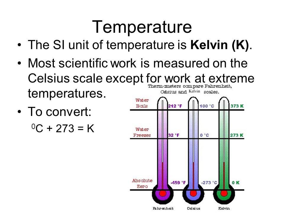Temperature The SI unit of temperature is Kelvin (K).