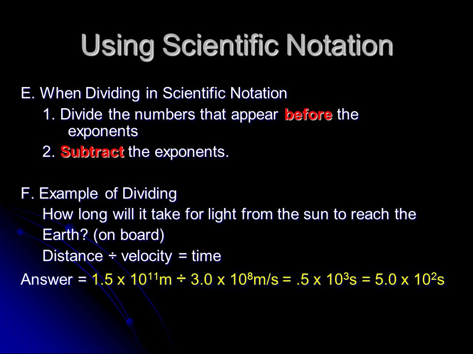 using scientific notation