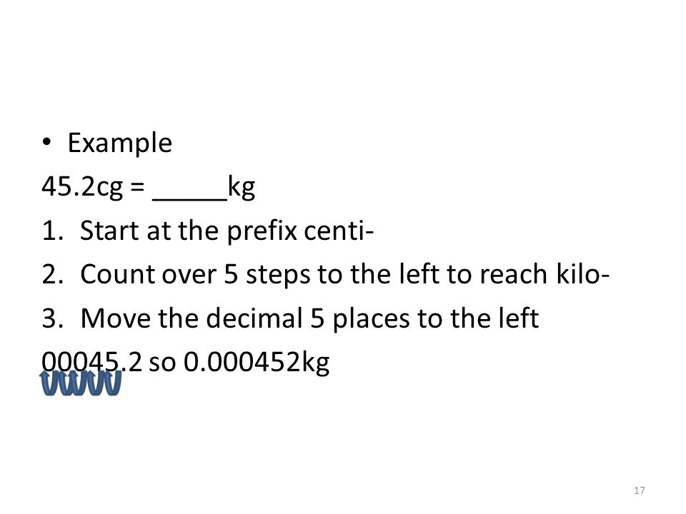 Example 45.2cg = _____kg. Start at the prefix centi- Count over 5 steps to the left to reach kilo-