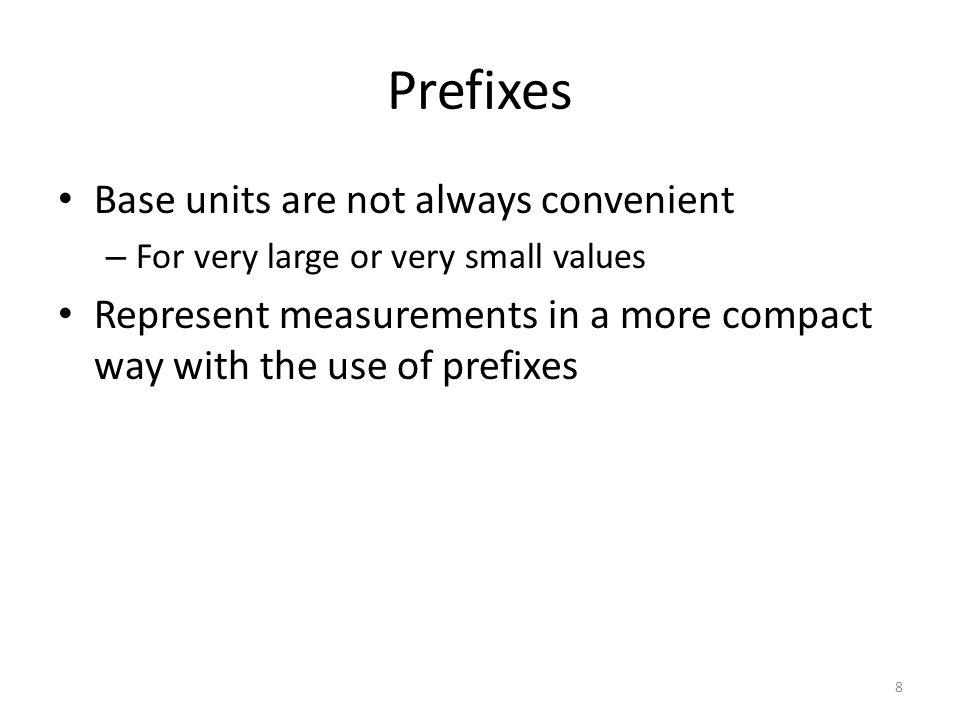 Prefixes Base units are not always convenient