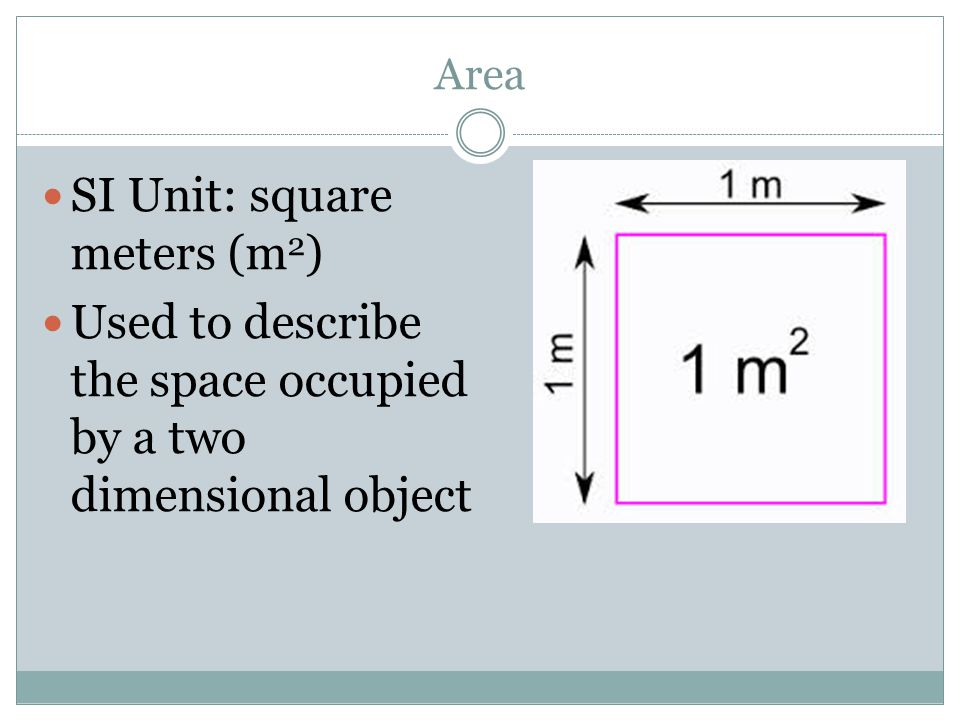SI Unit: square meters (m2)