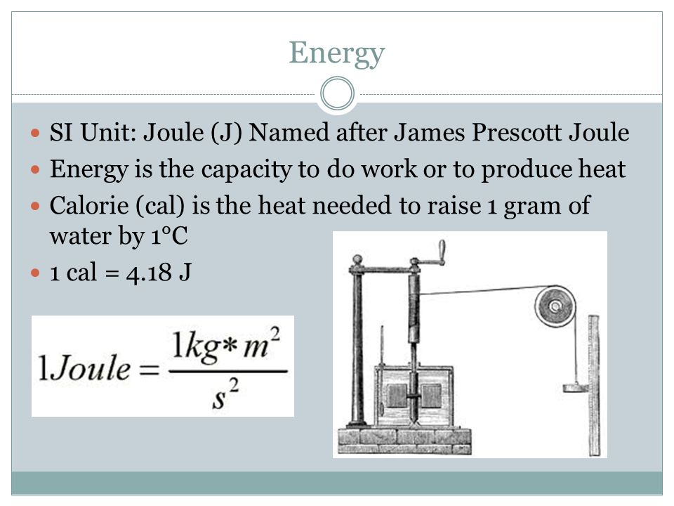 Energy SI Unit: Joule (J) Named after James Prescott Joule