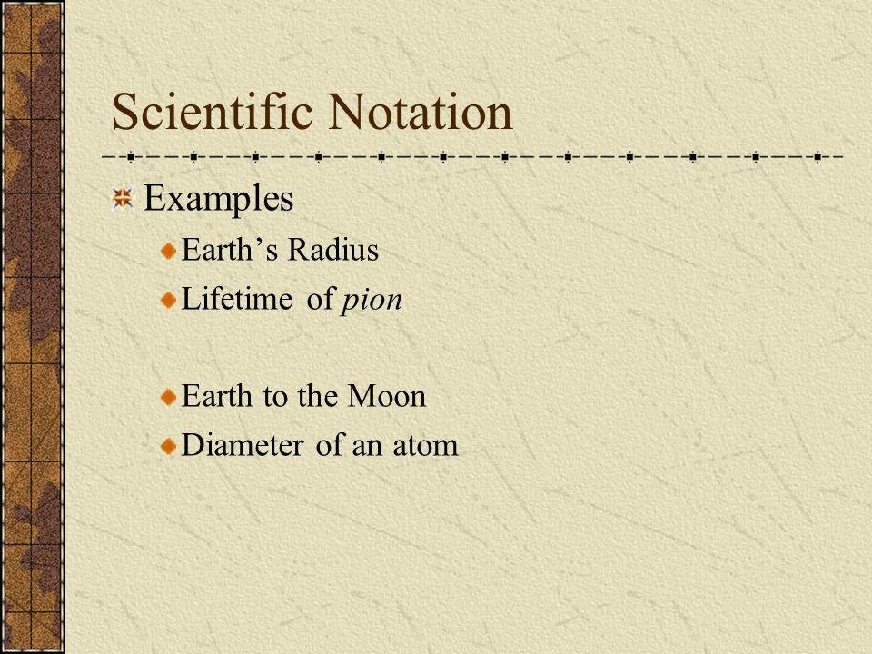 Scientific Notation Examples Earth's Radius Lifetime of pion