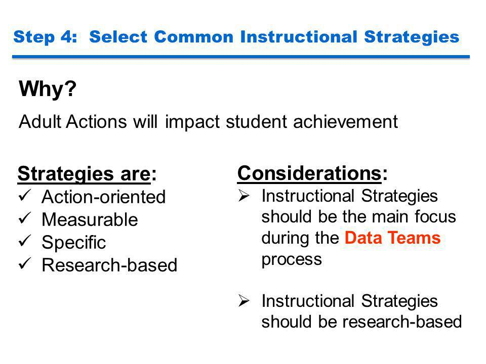 Why Strategies are: Considerations: Action-oriented Measurable