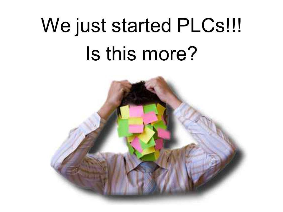We just started PLCs!!! Is this more