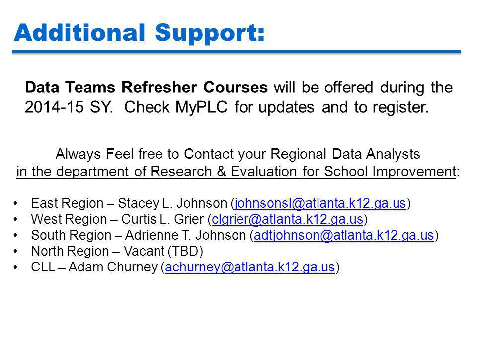 Additional Support: Data Teams Refresher Courses will be offered during the 2014-15 SY. Check MyPLC for updates and to register.