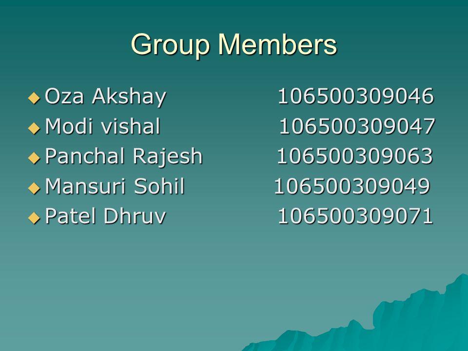 Group Members Oza Akshay 106500309046 Modi vishal 106500309047
