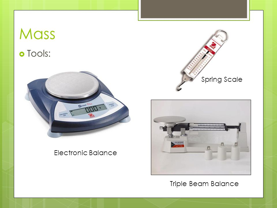 Mass Tools: Spring Scale Electronic Balance Triple Beam Balance