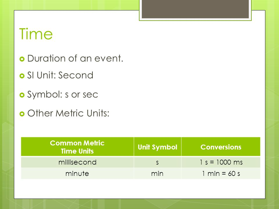 Time Duration of an event. SI Unit: Second Symbol: s or sec