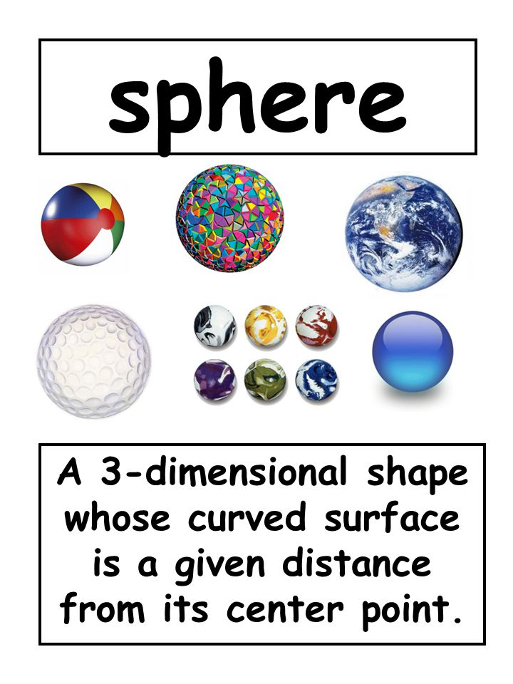 sphere A 3-dimensional shape whose curved surface is a given distance from its center point.