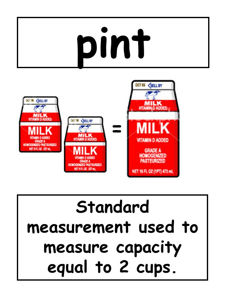 Standard measurement used to measure capacity equal to 2 cups.