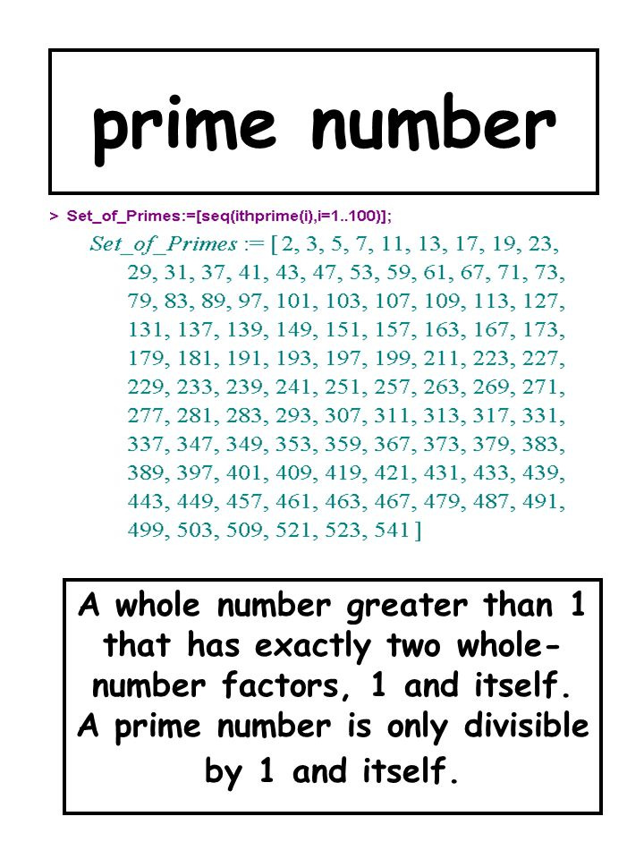 prime number A whole number greater than 1 that has exactly two whole-number factors, 1 and itself.