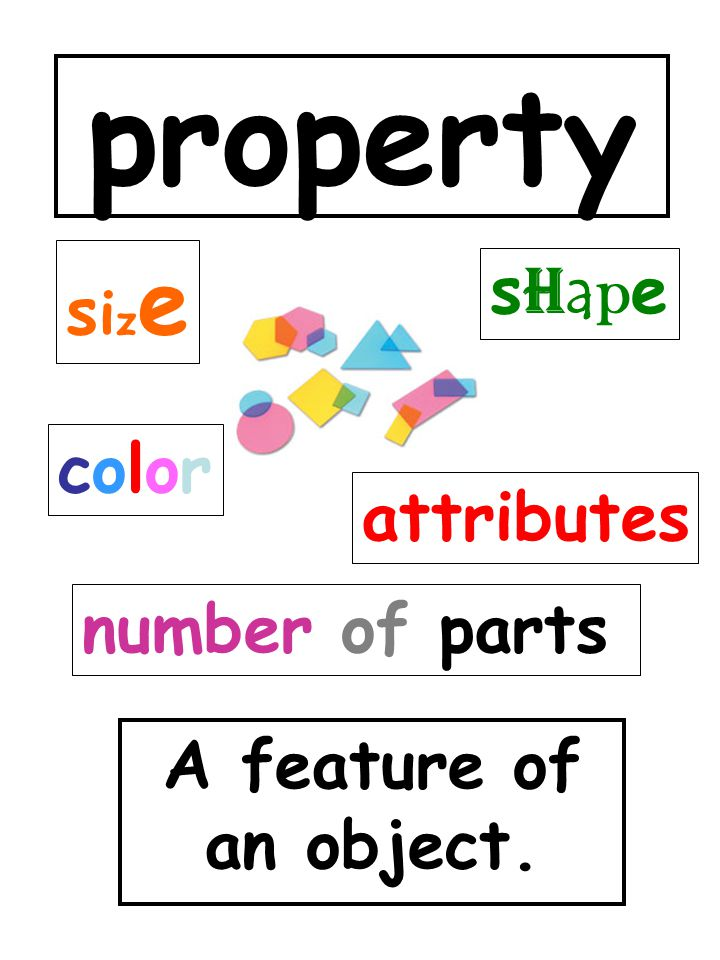 property size shape color attributes number of parts