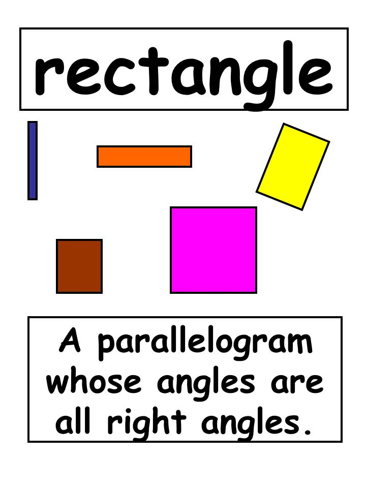A parallelogram whose angles are all right angles.