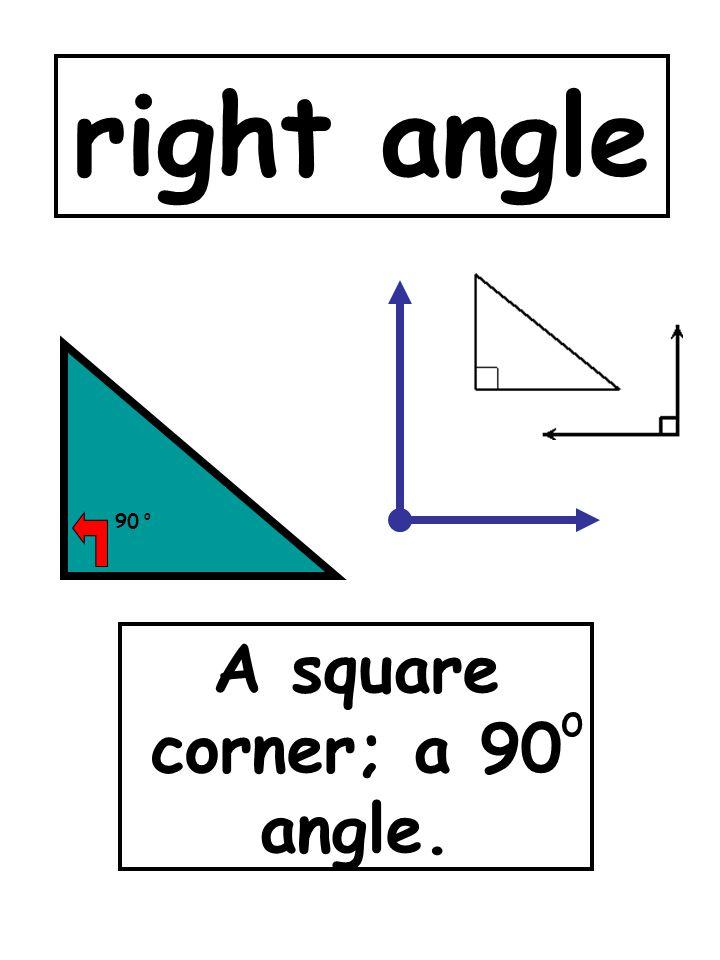 A square corner; a 90 angle.