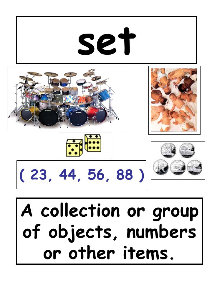 A collection or group of objects, numbers or other items.