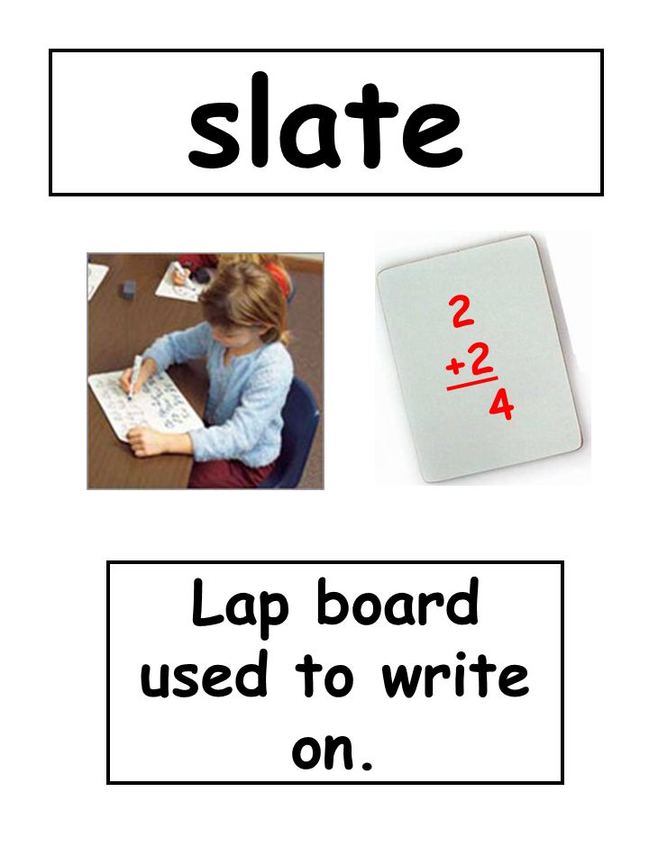 Lap board used to write on.