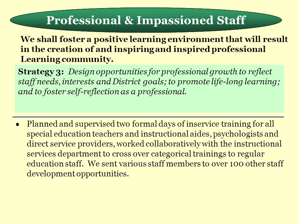 Meeting the Needs of the Whole Child Professional & Impassioned Staff