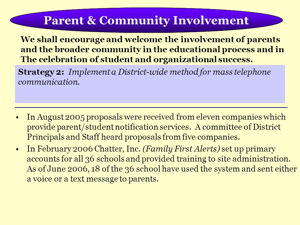 Meeting the Needs of the Whole Child Parent & Community Involvement