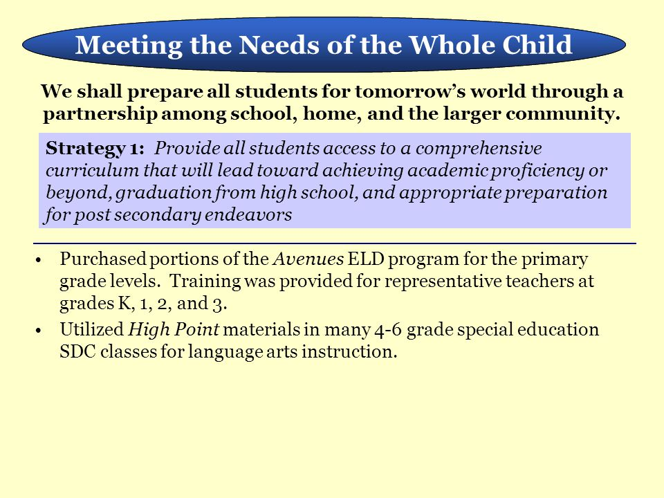 Meeting the Needs of the Whole Child