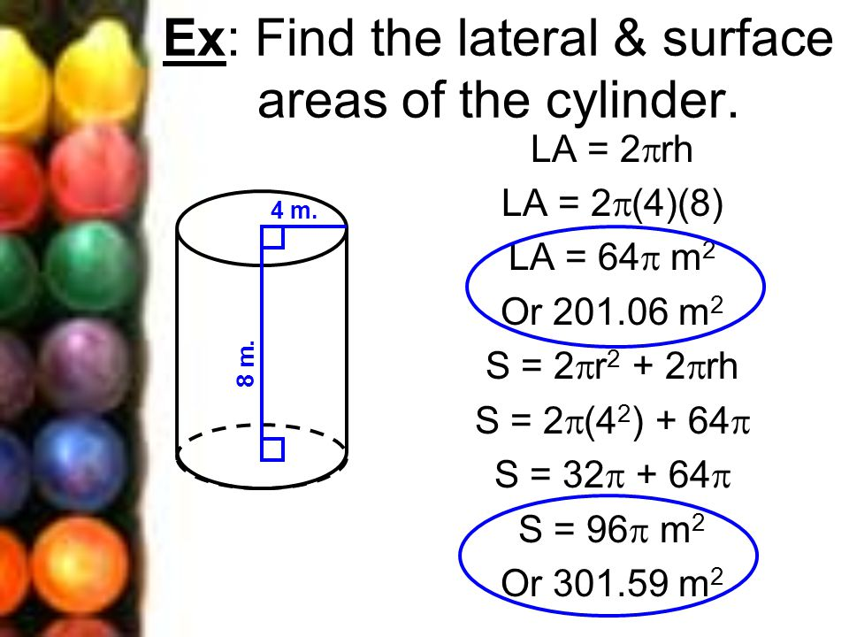 Ex: Find the lateral & surface areas of the cylinder.