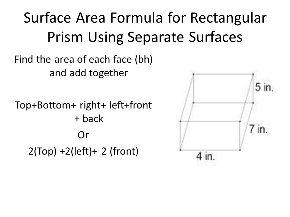 Surface Area Formula for Rectangular Prism Using Separate Surfaces