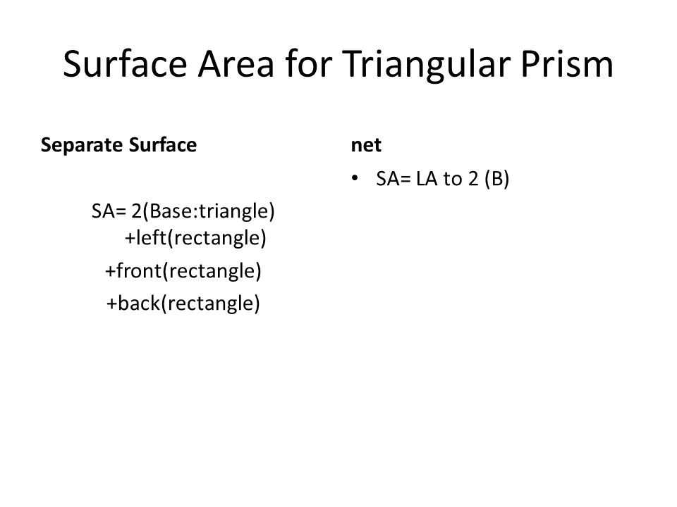 Surface Area for Triangular Prism